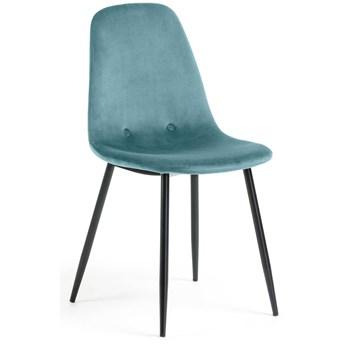 Krzeslo Yaren z turkusowego aksamitu