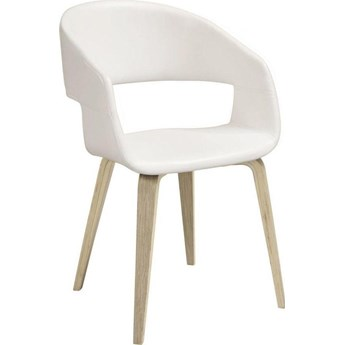 Krzesło Galla 51x78 cm białe ekoskóra nogi olejowane