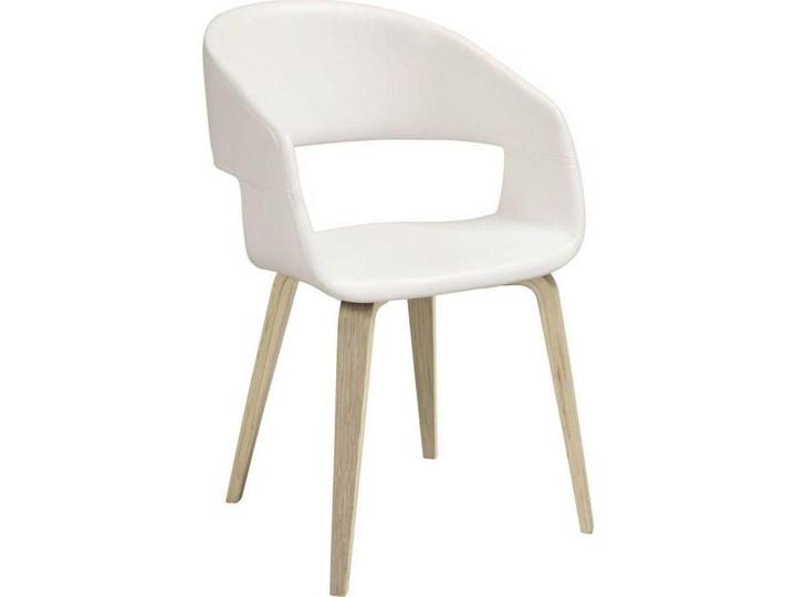 Krzesło Nova 51x78 cm białe ekoskóra nogi olejowane Tapicerowane Drewno Głębokość 55 cm Skóra ekologiczna Tkanina Wysokość 77 cm Z podłokietnikiem Szerokość 51,5 cm Styl Skandynawski Kolor Biały