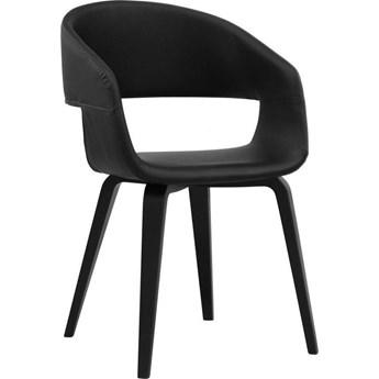 Krzesło Galla 50x77 cm czarne ekoskóra nogi fornir topola/brzoza