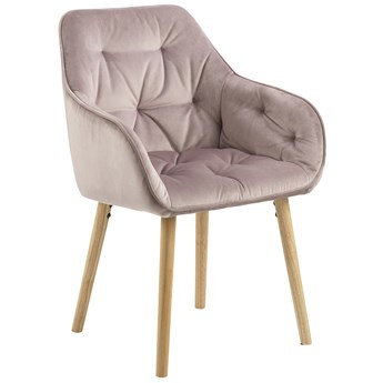 Krzesło z podłokietnikami Jarvis 58x83 cm brudny róż nogi drewniane