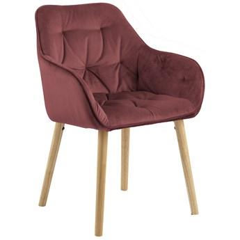 Krzesło z podłokietnikami Jarvis 58x83 cm koralowe nogi drewniane