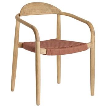 Krzesło z podłokietnikami Glynis 56x78 cm naturalne - siedzisko różowe
