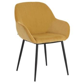 Krzesło z podłokietnikami Konna 59x83 cm musztardowe sztruks