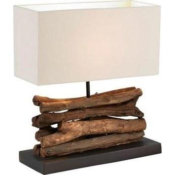 Lampa stołowa Iahas 35x40 cm biało-drewniana