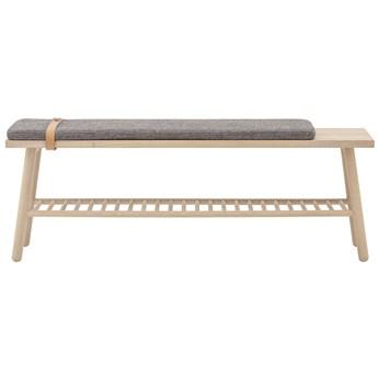 Ławka Pedro 120x41 cm naturalna siedzisko szare