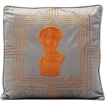 Poduszka dekoracyjna Bust 45x45 cm szaro-pomarańczowa