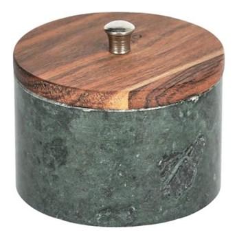 Pojemnik Karla mały lite drewno akacjowe i zielony marmur