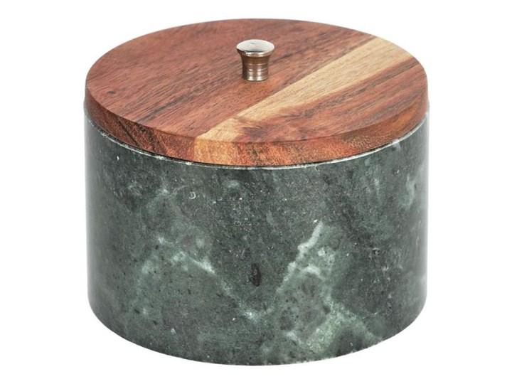 Pojemnik Karla duży lite drewno akacjowe zielony marmur
