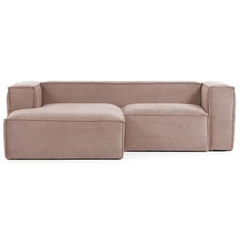 Sofa 2-osobowa Blok z szezlongiem z plewej strony z rózowego sztruksu 240 cm