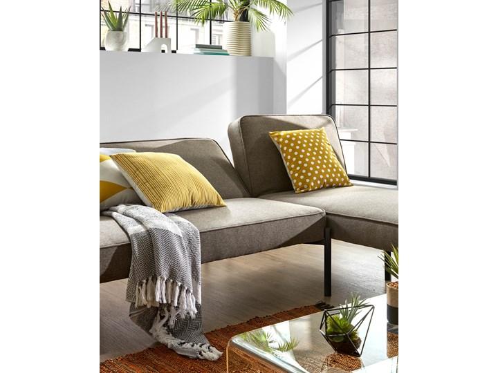 Rozkladana sofa i szezlong Nelki w kolorze szarym Nóżki Na nóżkach Stała konstrukcja Funkcje Bez dodatkowych funkcji