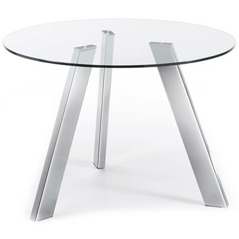Stół Columbia Ø110 cm transparentny/chromowany
