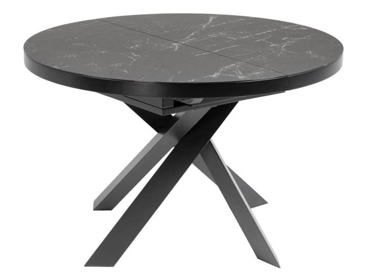 Stół rozkładany Vashti ∅120-160x76 cm szary Styl Glamour Płyta MDF Szkło Długość 120 cm  Szerokość 120 cm Stal Marmur Ceramika Długość 160 cm  Styl Nowoczesny