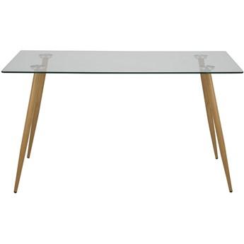 Stół Eusebio 140x80 cm transparentny nogi naturalne