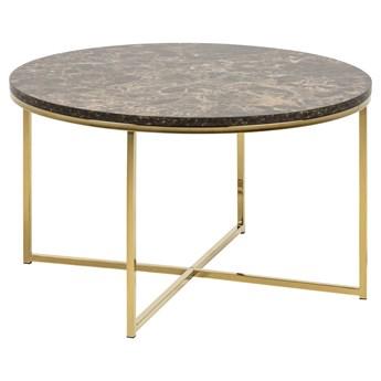 Stolik kawowy Estelle Ø80 cm brązowy nogi złote