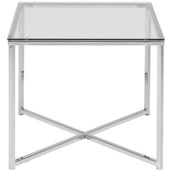 Stolik kawowy Eby 50x50 cm transparentny nogi srebrne blat szklany