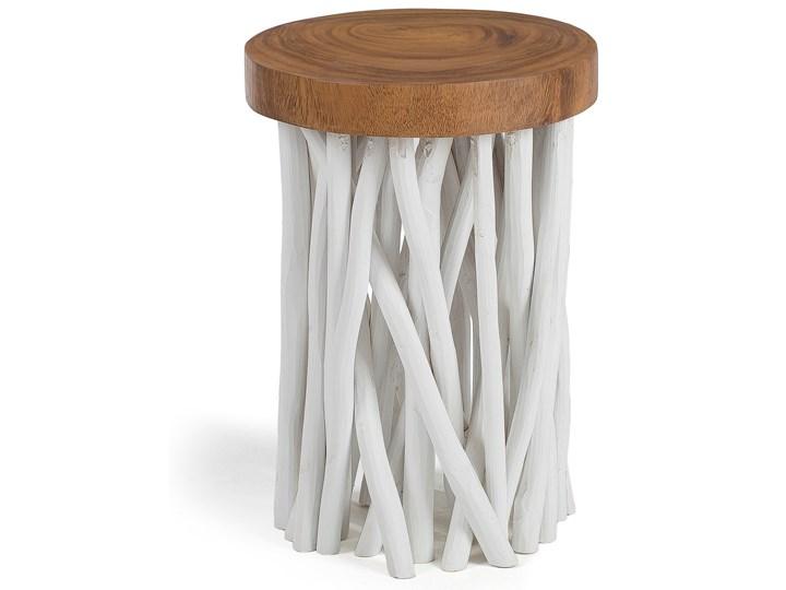 Stolik kawowy Druf Ø35 cm biało-drewniany