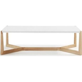 Stolik kawowy Quatro lite drewno jesionowe i bialy lakier 120 x 60 cm