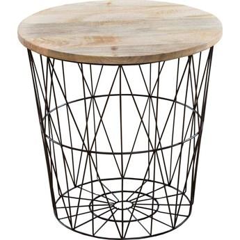 Stolik kawowy Celadon ∅52 cm czarno-drewniany