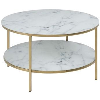 Stolik kawowy z półką Estelle Ø80 cm biały nogi złote