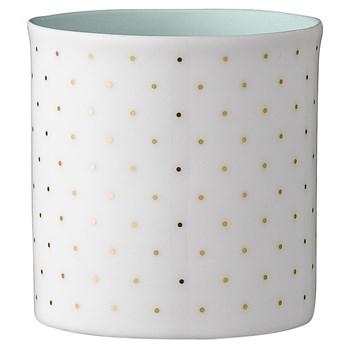 Świecznik Dotted 6x6 cm biało-zielony