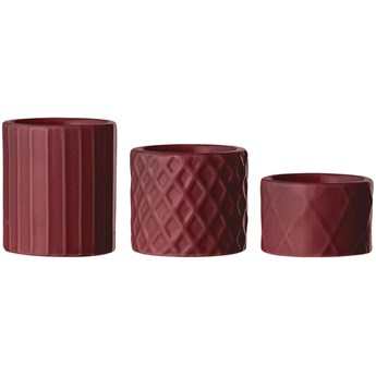 Świeczniki Lyanne 7x6 cm czerwone (3-set)