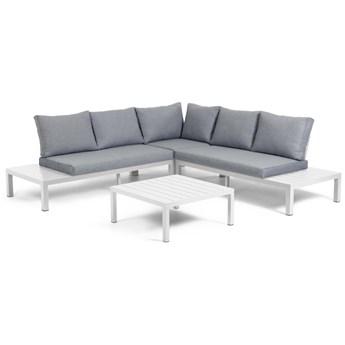 Zestaw mebli ogrodowych Duka narożnika 5-osobowego i aluminiowego stołu w kolorze białym