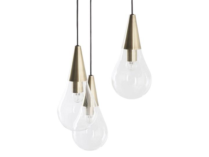 Lampa sufitowa przezroczysta szklana 118 cm miedziany akcent 3 klosze kształt kropli nowoczesna Żarówka na kablu Styl Nowoczesny Metal Szkło Kategoria Lampy wiszące