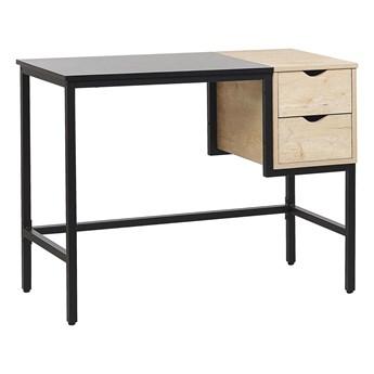 Biurko do biura domowego czarne z jasnym drewnem metalowa rama 100 x 48 cm przechowywanie 2 szuflady blat z tworzywa