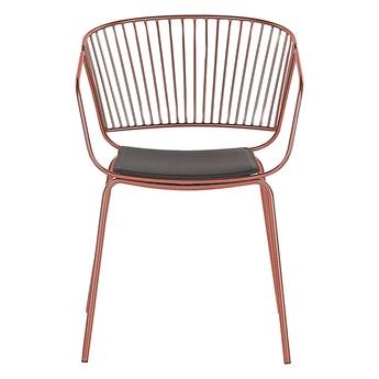 Zestaw 2 krzeseł miedzianych metalowych z czarnymi poduszkami na siedzisko z ekoskóry styl nowoczesny