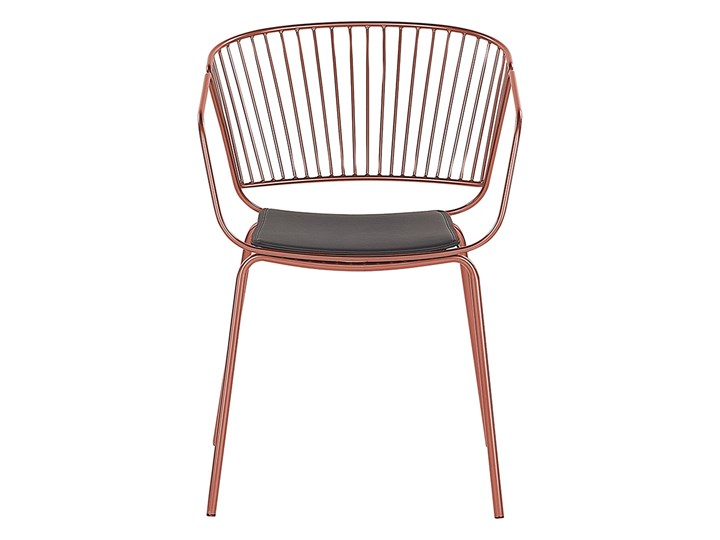 Zestaw 2 krzeseł miedziany w odcieniu czerwieni metalowych z czarnymi poduszkami na siedzisko z ekos ...
