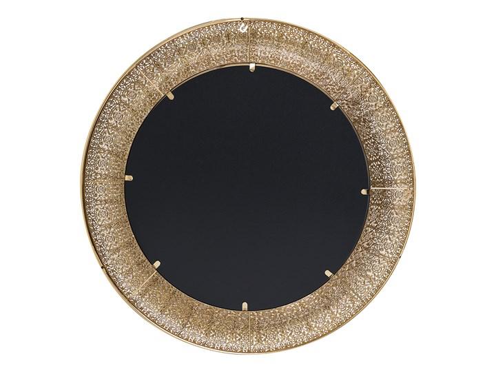 Lustro wiszące ścienne złote 80 cm Okrągłe Lustro z ramą Kolor Złoty