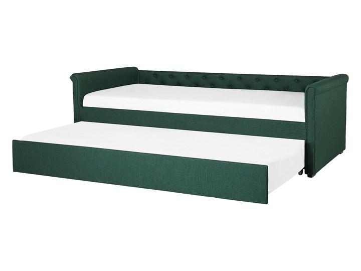 Łóżko dziecięce wysuwane ze stelażem ciemnozielone tapicerowane tkaniną pikowane oparcie 90 x 200 cm Drewno Tworzywo sztuczne Kolor Zielony