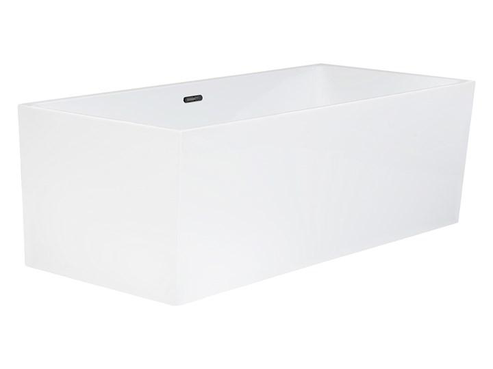 Wanna wolnostojąca biała akrylowa 170 x 81 cm system przelewowy prostokątna współczesna Długość 170 cm Symetryczne Wolnostojące Kolor Biały