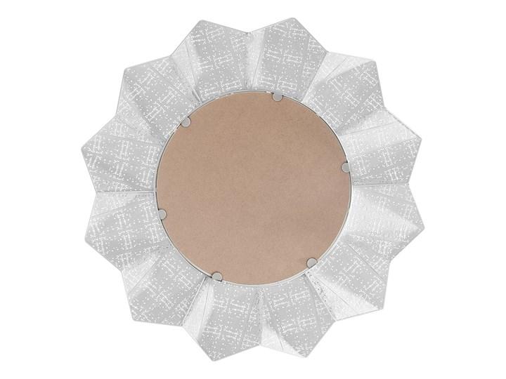 Lustro ścienne wiszące biało-miedziane 72 cm geometryczne słońce gwiazda Okrągłe Styl Nowoczesny Lustro z ramą Pomieszczenie Salon