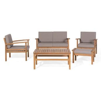 Zestaw ogrodowy brązowoszary jasne drewno akacjowe 2 fotele 1 ławka 1 hoker 1 stół poduchy retro Beliani
