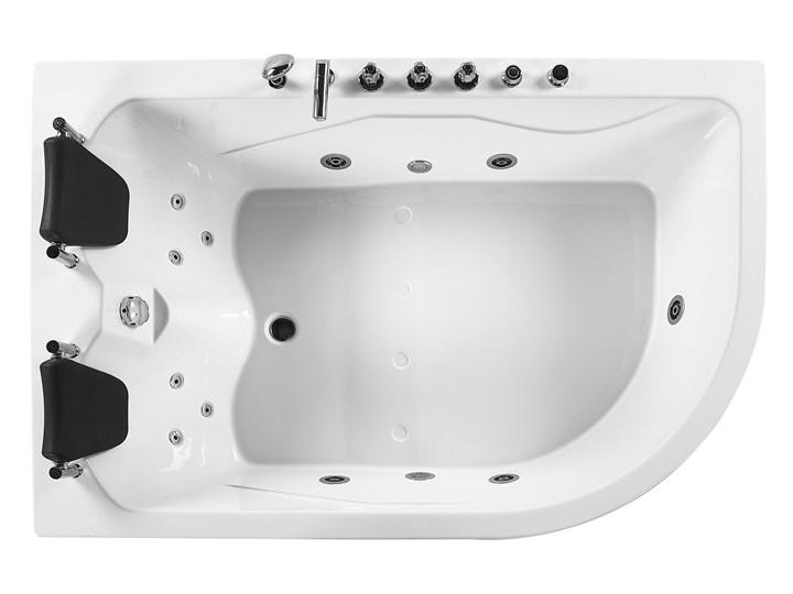 Wanna narożna z hydromasażem biała akrylowa z oświetleniem LED i zagłówkami prawostronna Kolor Biały Wolnostojące Stal Kategoria Wanny