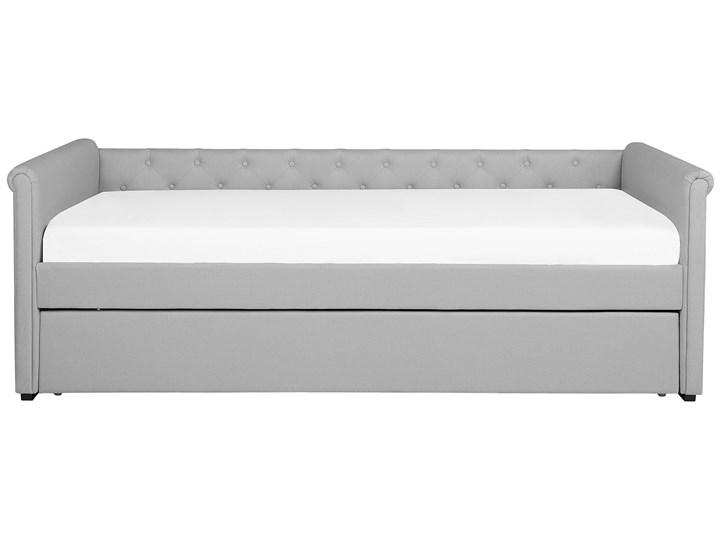 Łóżko dziecięce wysuwane ze stelażem jasnoszare tapicerowane tkaniną pikowane oparcie 80 x 200 cm Łóżko tapicerowane Kategoria Łóżka do sypialni