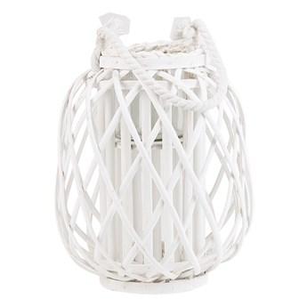 Lampion dekoracyjny biały drewniany 30 cm ozdobna latarnia na świecę