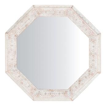 Lustro ścienne wiszące biało-miedziane 84 cm geometryczne ośmiokąt vintage retro salon sypialnia łazienka