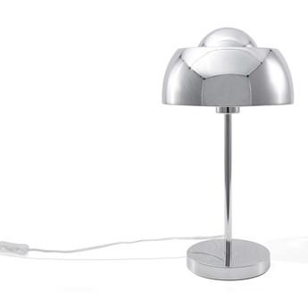Lampa biurkowa srebrna chromowany metal połyskująca powierzchnia nowoczesny design