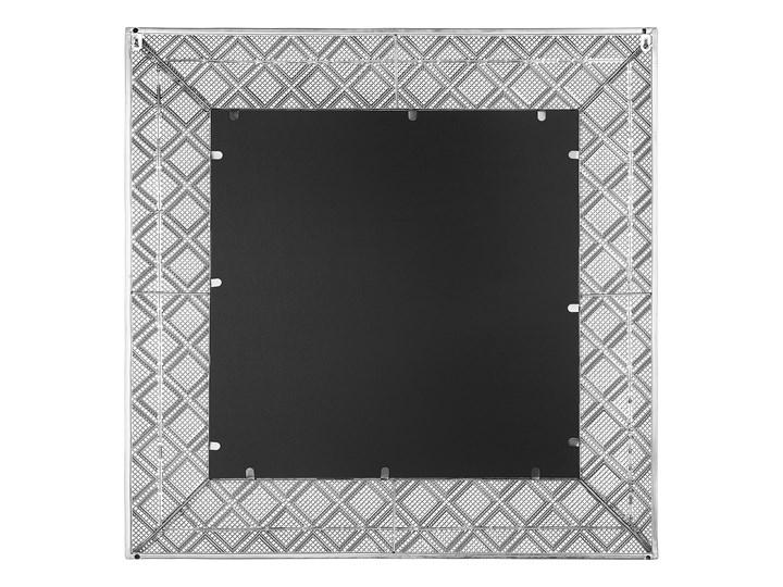Lustro wiszące dekoracyjne kwadratowe srebrne 80 x 80 cm orientalna rama w romby Ścienne Lustro z ramą Styl Klasyczny