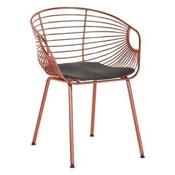 Zestaw 2 krzeseł czerwonyh miedzianych metalowych z czarnymi poduszkami na siedzisko z ekoskóry styl nowoczesny