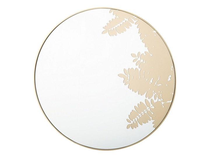 Okrągłe lustro ścienne złote metalowa rama 56 cm wzór liści łazienka salon styl retro
