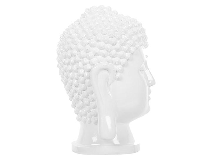 Figura dekoracyjna biała stojąca głowa Buddy 41 cm Ludzie Tworzywo sztuczne Rośliny Kolor Biały Kategoria Figury i rzeźby