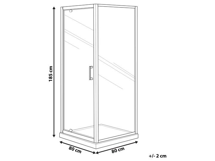 Kabina prysznicowa srebrna szkło hartowane aluminum pojedyncze drzwi 80 x 80 x 185 cm nowoczesny design Kategoria Kabiny prysznicowe Kwadratowa Kolor Przezroczysty