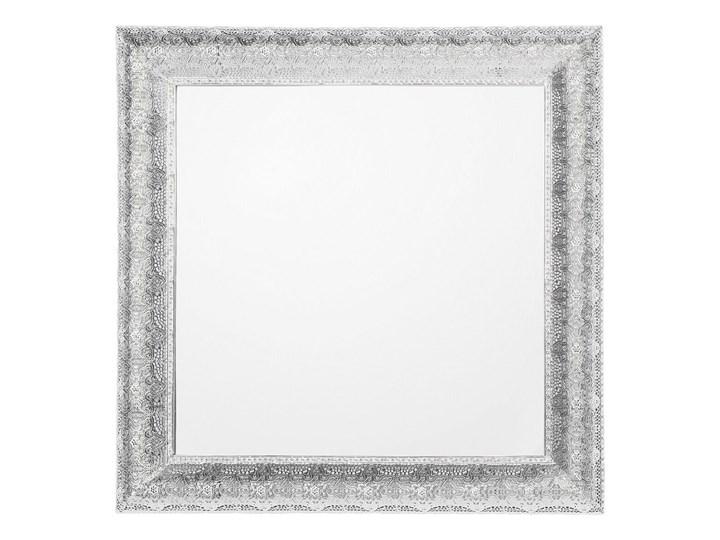 Lustro ścienne wiszące srebrne 65 x 65 cm kwadratowe vintage retro sypialnia salon łazienka