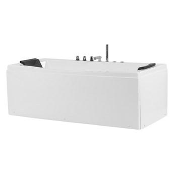 Wanna z hydromasażem biała akrylowa 173 x 81 cm 2 zagłówki prostokątna nowoczesna