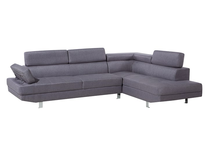 Narożnik lewostronny szary tapicerowany 5 osobowa sofa z regulowanymi zagłówkami Styl Nowoczesny W kształcie L Boki Z bokami