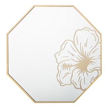 Ośmiokątne lustro ścienne złote rama 65 cm wzór kwiat łazienka salon styl retro
